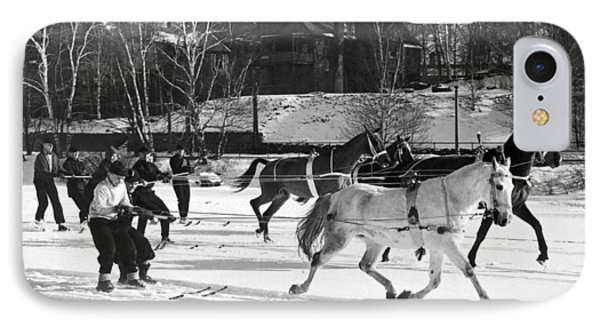 Skijoring At Lake Placid IPhone Case by Underwood Archives
