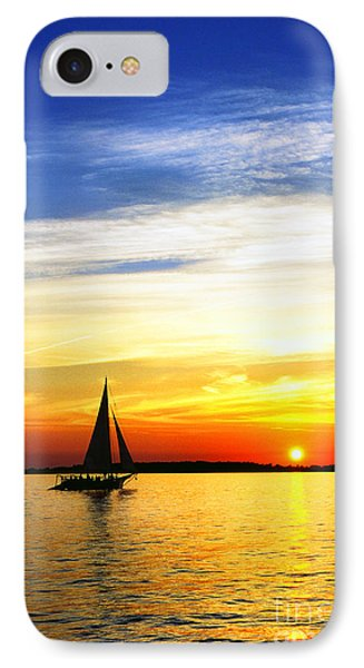 Skipjack Under Full Sail At Sunset IPhone Case by Thomas R Fletcher