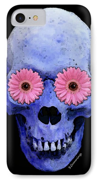Skull Art - Day Of The Dead 1 Phone Case by Sharon Cummings