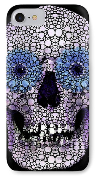 Skull Art - Day Of The Dead 2 Stone Rock'd Phone Case by Sharon Cummings