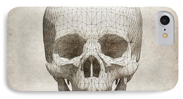 Skull Wireframe On Paper.  IPhone Case