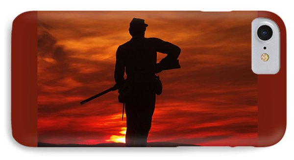 Sky Fire - 111th New York Infantry Hancock Avenue Brian Farm Cemetery Ridge Sunset Winter Gettysburg Phone Case by Michael Mazaika