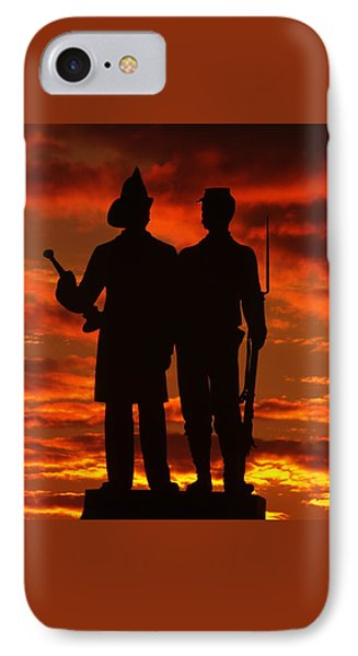 Sky Fire - 73rd Ny Infantry Fourth Excelsior Second Fire Zouaves-a1 Sunrise Autumn Gettysburg Phone Case by Michael Mazaika