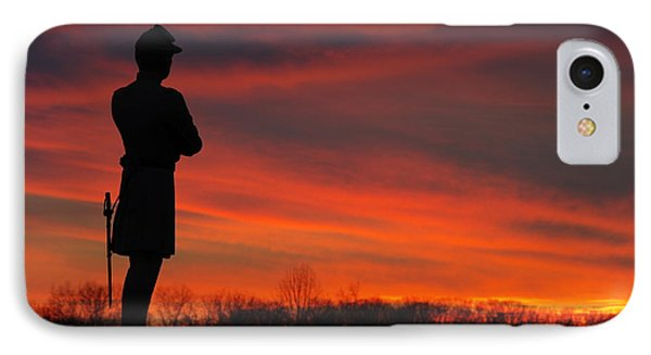 Sky Fire - Aotp 124th Ny Infantry Orange Blossoms-2a Sickles Ave Devils Den Sunset Autumn Gettysburg Phone Case by Michael Mazaika
