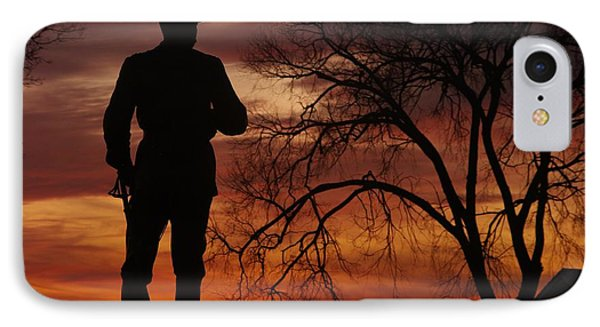 Sky Fire - Brigadier General John Buford - Commanding First Division Cavalry Corps Sunset Gettysburg Phone Case by Michael Mazaika