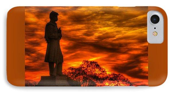 Sky Fire - West Virginia At Gettysburg - 7th Wv Volunteer Infantry Vigilance On East Cemetery Hill Phone Case by Michael Mazaika