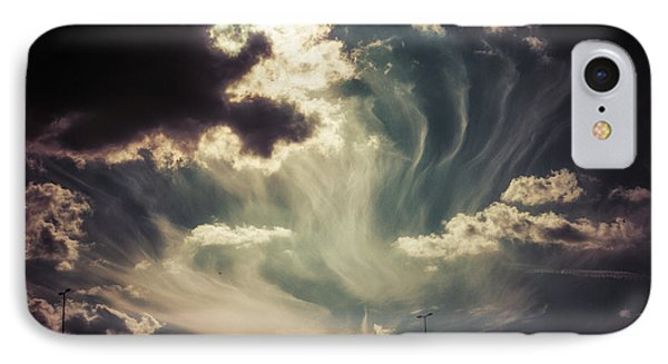 Sky Wisps Over A Double Decker IPhone Case by Lenny Carter