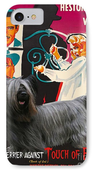 Skye Terrier Art Canvas Print - Touch Of Evil Movie Poster IPhone Case by Sandra Sij