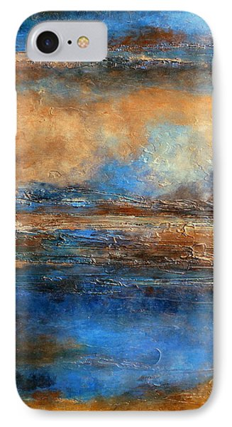 Skyrim A Heavily Textured Blue Brown And Beige Abstract Painting IPhone Case