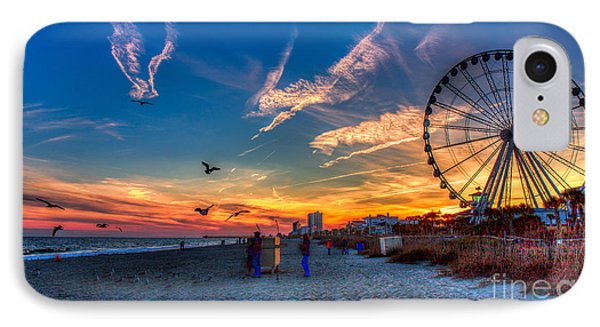 Skywheel Sunset At Myrtle Beach IPhone Case by Robert Loe