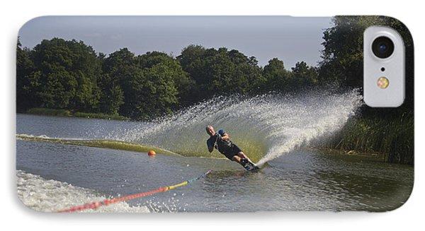 Slalom Waterskiing IPhone Case by Venetia Featherstone-Witty