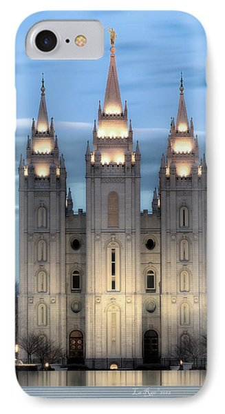 Slc Temple Blue IPhone Case by La Rae  Roberts