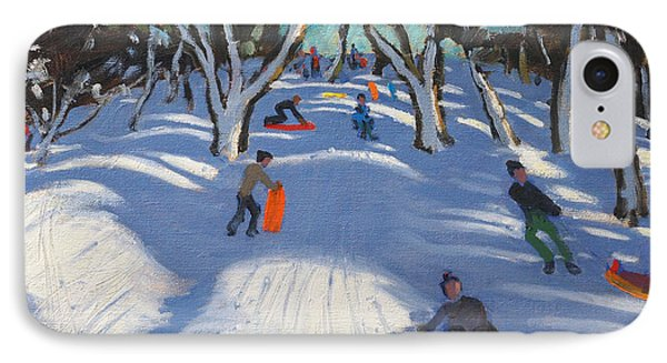 Sledging At Ladmanlow Phone Case by Andrew Macara