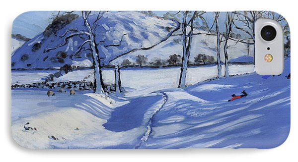 Sledging  Derbyshire Peak District Phone Case by Andrew Macara