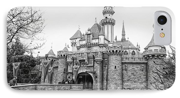 Sleeping Beauty Castle Disneyland Side View Bw IPhone Case by Thomas Woolworth