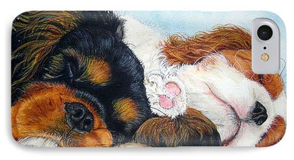 Sleeping Cavalier Puppies Phone Case by Toulla Hadjigeorgiou