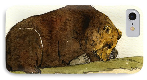Sleeping Grizzly Bear IPhone Case by Juan  Bosco