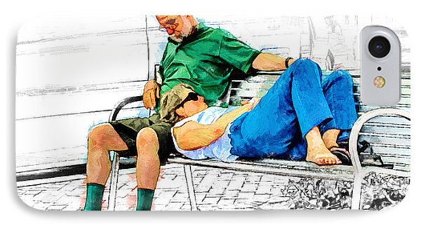Sleeping On A Park Bench IPhone Case