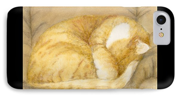 Sleeping Orange Tabby Cat Feline Animal Art Pets Phone Case by Cathy Peek