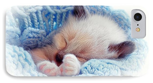 IPhone Case featuring the photograph Sleeping Siamese Kitten by Tracie Kaska