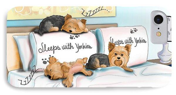 Sleeps With Yorkies Phone Case by Catia Cho