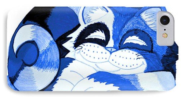 Sleepy Blue Cat Phone Case by Nick Gustafson