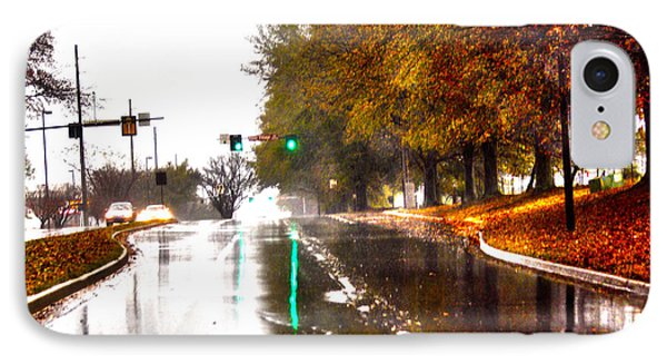 IPhone Case featuring the photograph Slick Streets Rainy View by Lesa Fine