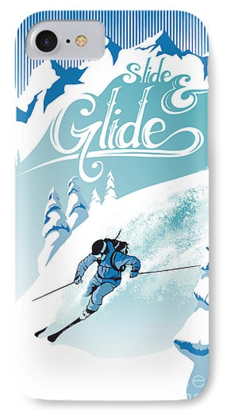 Slide And Glide Retro Ski Poster IPhone Case by Sassan Filsoof