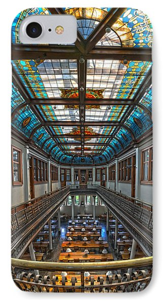 Slocum Hall Romanesque Arcade And Stained-glass Skylight Ohio Wesleyan University Phone Case by Brian Mollenkopf