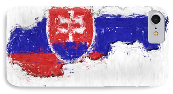 Slovakia Painted Flag Map Phone Case by Antony McAulay