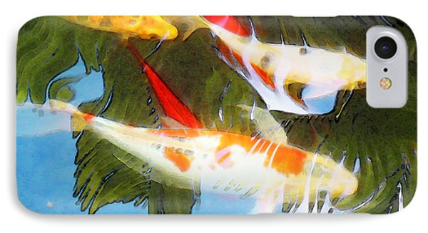 Slow Drift - Colorful Koi Fish Phone Case by Sharon Cummings