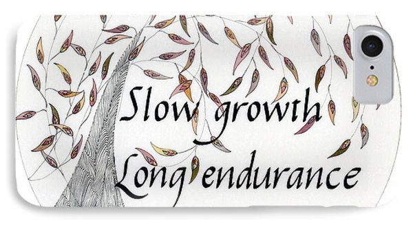 IPhone Case featuring the drawing Slow Growth. Long Endurance. by Dianne Levy