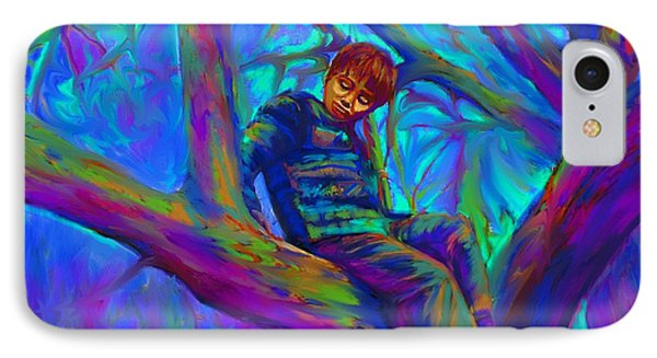 Small Boy In Large Tree IPhone Case