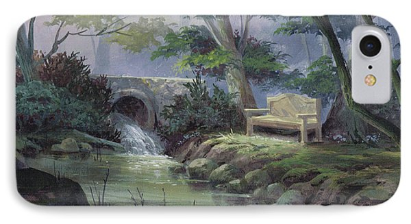 IPhone Case featuring the painting Small Falls Descanso by Michael Humphries