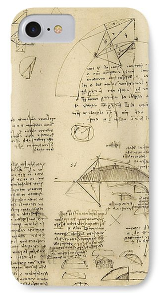Small Front View Of Church Squaring Of Curved Surfaces Triangle Elmain Or Falcata IPhone Case by Leonardo Da Vinci