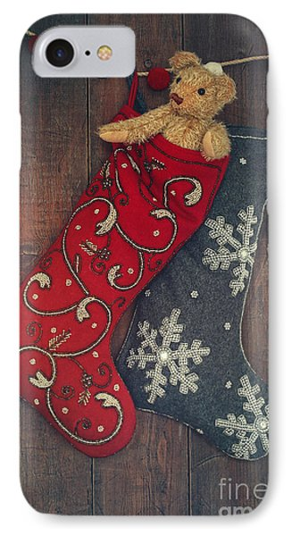 Small Teddy Bear In Stocking For Christmas IPhone Case by Sandra Cunningham