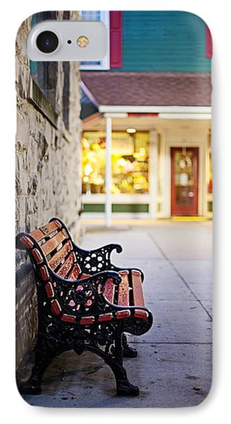 Small Town Bench IPhone Case by April Reppucci