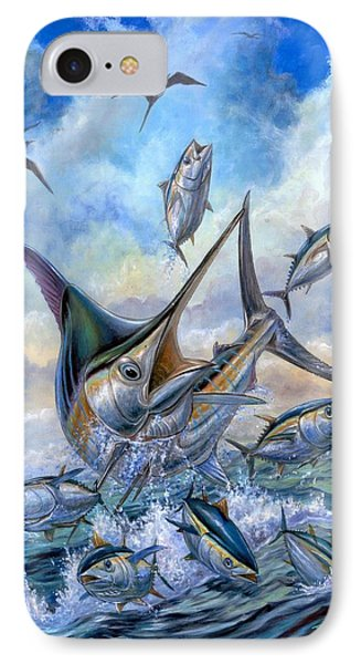 Small Tuna And Blue Marlin Jumping Phone Case by Terry Fox
