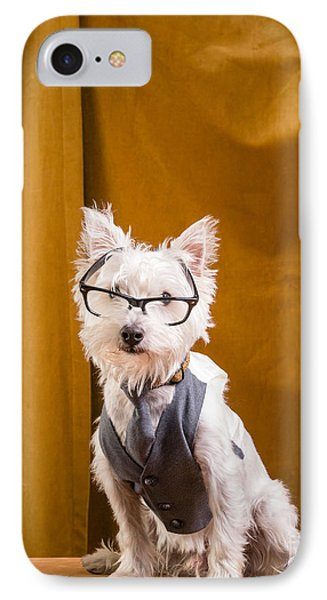 Small White Dog Wearing Glasses And Vest Phone Case by Edward Fielding