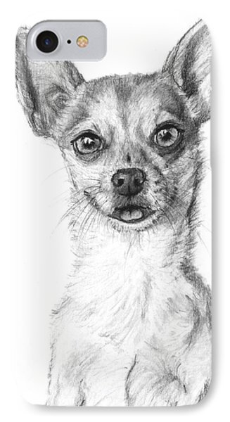 Smiling Chihuahua In Charcoal Phone Case by Kate Sumners
