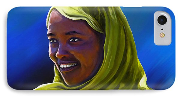 IPhone Case featuring the painting Smiling Lady by Anthony Mwangi