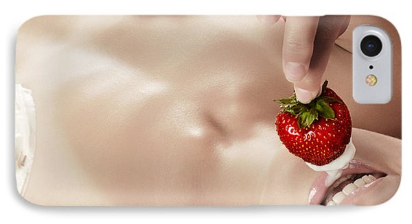 Smiling Sexy Nude Woman Eating Strawberry With Cream IPhone Case