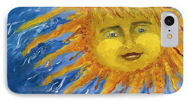 Smiling Yellow Sun In Blue Sky Phone Case by Lenora  De Lude