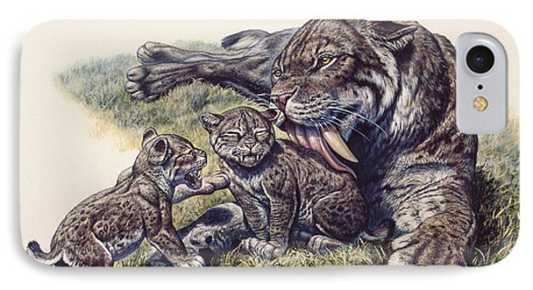 Smilodon Sabertooth Mother And Her Cubs IPhone Case