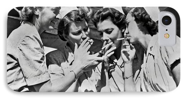Smoking Army Nurses IPhone Case by Underwood Archives