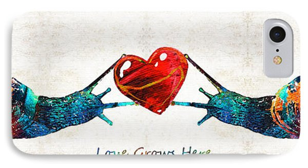 Snail Art - Love Grows Here - By Sharon Cummings IPhone Case by Sharon Cummings