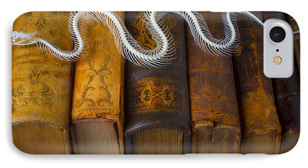 Snake And Antique Books IPhone Case by Garry Gay
