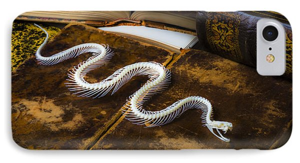 Snake Skeleton And Old Books Phone Case by Garry Gay
