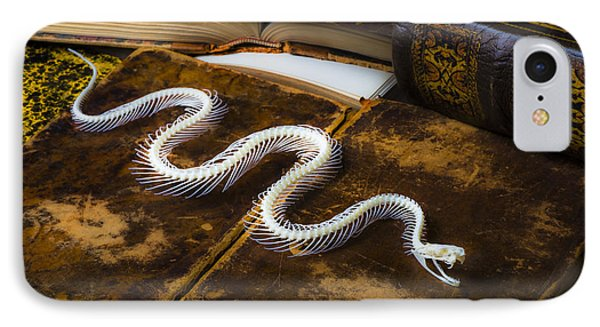 Snake Skeleton And Old Books IPhone Case by Garry Gay