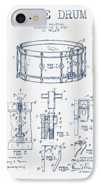 Drum iPhone 7 Case - Snare Drum Patent Drawing From 1910  - Blue Ink by Aged Pixel